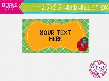 Word Wall Cards - Green and Yellow Gold {EDITABLE}