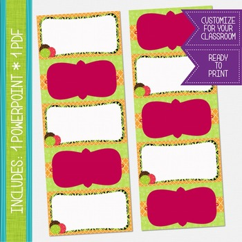 Word Wall Cards - Hot Pink, Green and Chocolate Brown {EDITABLE}