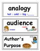 Word Wall Cards Language Arts, Marzano- 4th grade