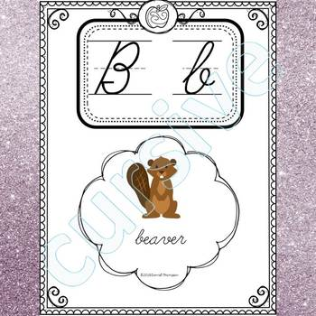 Alphabet Word Wall: Letter B (Cursive Writing Cards)