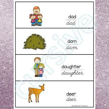 Alphabet Word Wall: Letter D (Cursive Writing Cards)