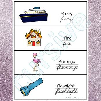 Alphabet Word Wall: Letter F (Cursive Writing Cards)