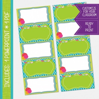 Word Wall Cards - Lime Green and Turquoise {EDITABLE}
