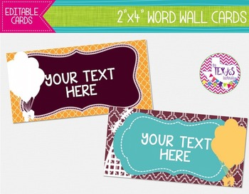 Word Wall Cards - Maroon, Aqua and Yellow, Rollercoaster Theme {EDITABLE}