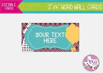 Word Wall Cards - Maroon and Teal, Rollercoaster Theme {EDITABLE}