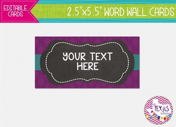 Word Wall Cards - Plum, Aqua and Chalkboard {EDITABLE}