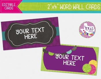 Word Wall Cards - Plum, Green and Teal {EDITABLE}