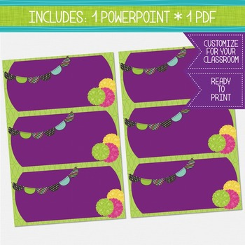 Word Wall Cards - Plum and Green {EDITABLE}