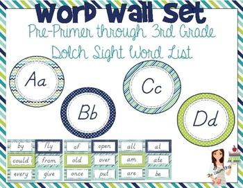 Word Wall Cards: Pre-Primer through 3rd Grade