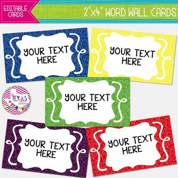 Word Wall Cards - Primary Colors {EDITABLE}