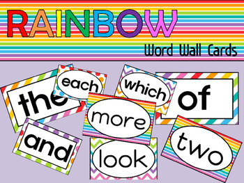Word Wall Cards - Rainbow - Editable
