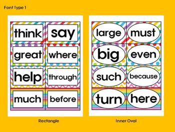 Word Wall Cards - Rainbow - Editable - SET 2