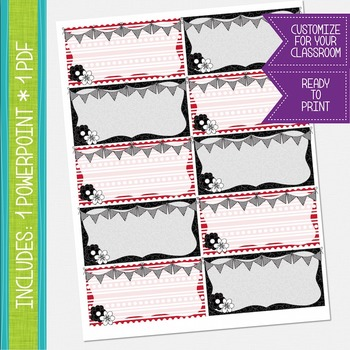 Word Wall Cards - Red, Black and White {EDITABLE}