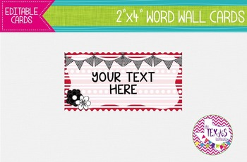 Word Wall Cards - Red and White {EDITABLE}