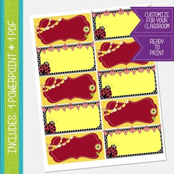 Word Wall Cards - Red and Yellow, Ladybug Theme {EDITABLE}
