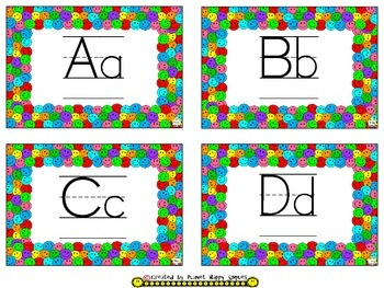 Word Wall Cards, Sight Words, & Alphabet Cards ~ Multi Colored Happy Faces