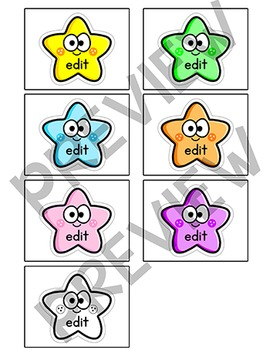 Sight Words Word Wall Cards - Star Theme