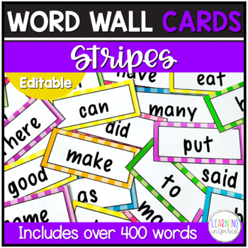 Word Wall Cards (Fry's Sight Words) Stripes **EDITABLE**
