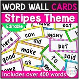 Word Wall Cards Stripes Theme Editable
