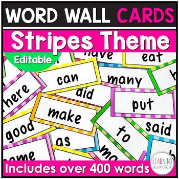 Word Wall Cards  {Stripes} **EDITABLE**