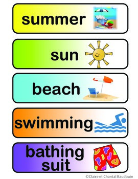 Word Wall Cards Summer