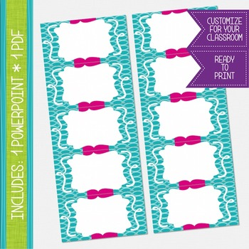 Word Wall Cards - Teal and Hot Pink {EDITABLE}