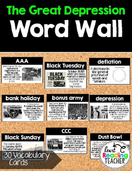 Word Wall Cards: The Great Depression