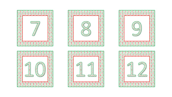 Word Wall Cards and Calendar Numbers- Winter Red and Green Snowflake