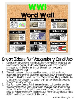 Word Wall Cards: World War I