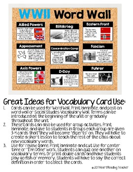 Word Wall Cards: World War II