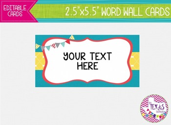 Word Wall Cards - Yellow, Aqua and Coral {EDITABLE}