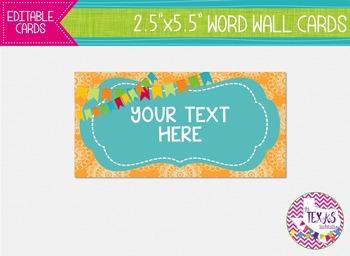Word Wall Cards - Yellow Gold and Aqua {EDITABLE}