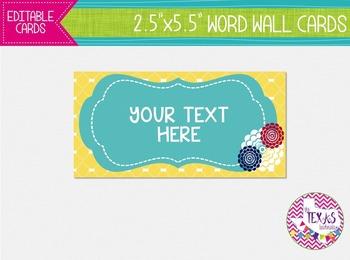 Word Wall Cards - Yellow and Aqua {EDITABLE}