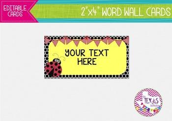 Word Wall Cards - Yellow and Black, Ladybug Theme {EDITABLE}