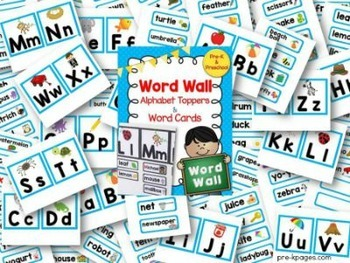 Word Wall Cards and ABC Toppers for Pre-K and Kindergarten ~ Blue