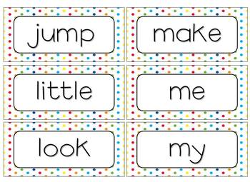 Word Wall Cards and Activities [Primary Bunting & Polka Dots]