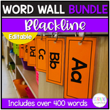 Word Wall Cards and Letters Bundle Blackline Theme Editable