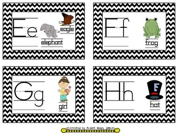 Word Wall Cards and Sight Words(150) ~ Chevron B/W Print