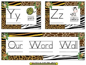 Word Wall Cards and Sight Words(150) ~ Jungle/Safari Theme