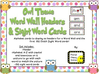 Word Wall Cards and Sight Words(150) ~ Owl Theme