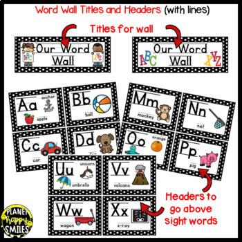 Word Wall Cards and Sight Words(150) ~ Polka Dot B/W Print