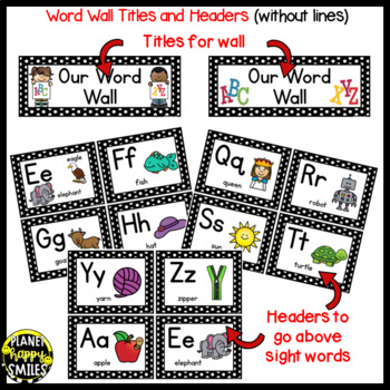 Word Wall Cards and Sight Words(150) ~ Polka Dot B/W Print
