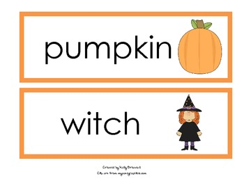 Word Wall Cards for Halloween