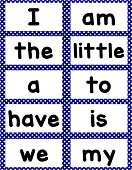 Word Wall Cards for Kindergarten Reading Street