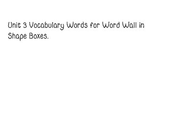 Word Wall Cards for Wonders 2nd Grade Unit 3