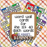 Word Wall Cards for the 1st 40 Dolch Words