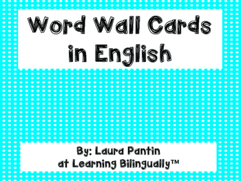 Word Wall Cards in English