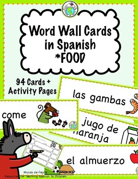 Word Wall Cards in SPANISH Food