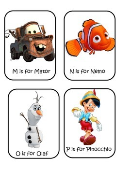 Word Wall Cards with Disney Characters