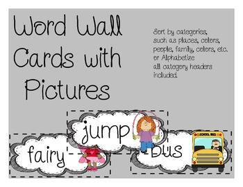 Word Wall Cards with Pictures